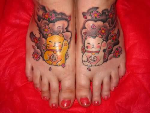 Cats And Paw Print Tattoos On Feet