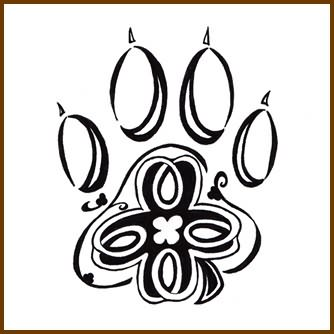 Clover Wolf Paw Tattoo Design
