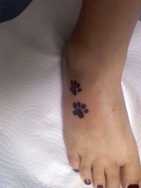 Dog paw print tattoo on foot for Dog paw print tattoo