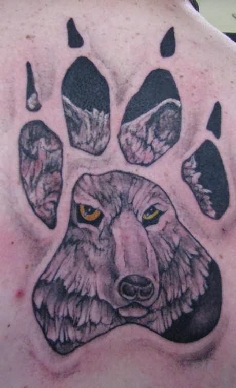 Large Paw Print Tattoo On Back