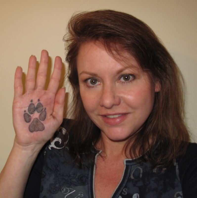 Paw Print Tattoo On Palm
