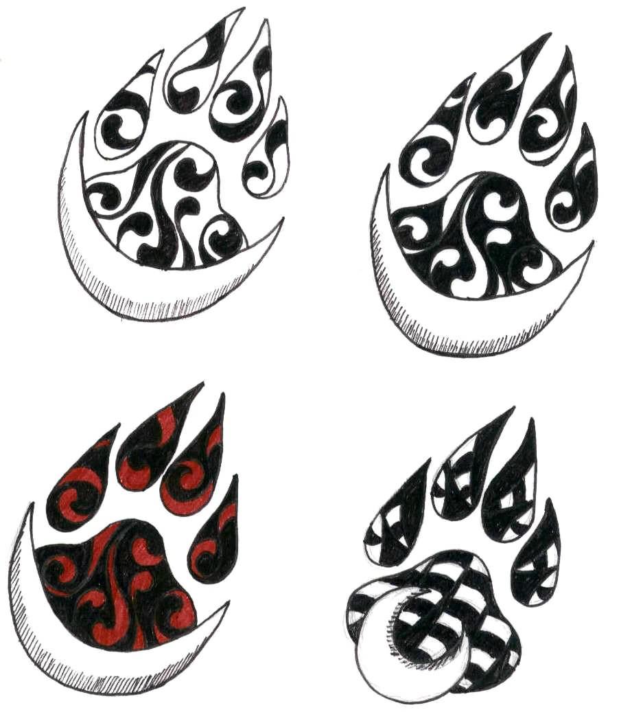 paw tattoo coloured designs. Black Bedroom Furniture Sets. Home Design Ideas