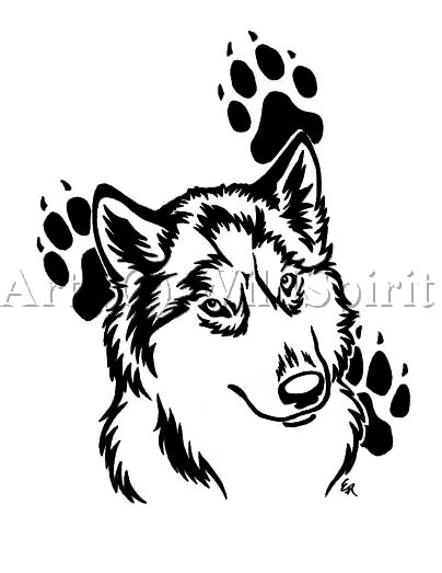 Wolf And Paw Print Tattoo Designs
