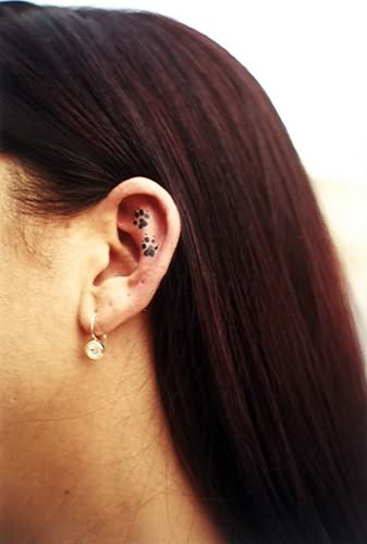 Women Paw Print Tattoo Inside Ear