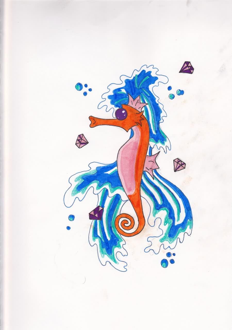 Cute Design For Seahorse Tattoo