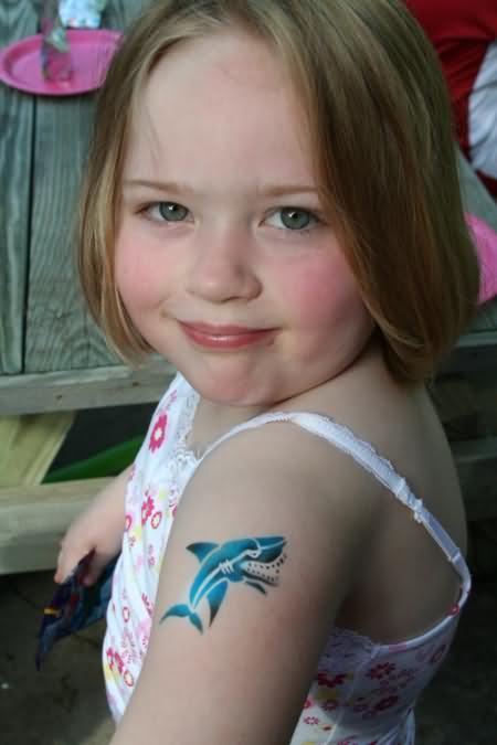 Blue Shark Tattoo On Shoulder