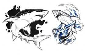 white and black shark tattoo. Black Bedroom Furniture Sets. Home Design Ideas