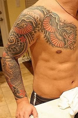 Big Dragon Snake Tattoo On Arm And Chest
