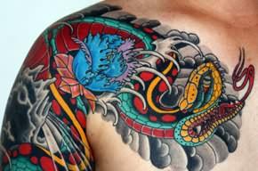 japanese dragon and snake tattoos on shoulder. Black Bedroom Furniture Sets. Home Design Ideas