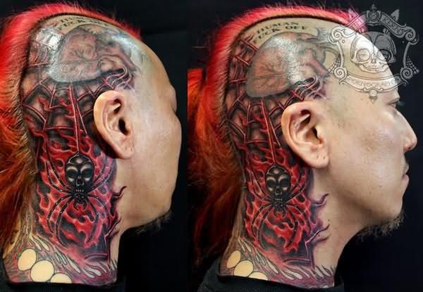 Spider And Spider Web Tattoo On Head