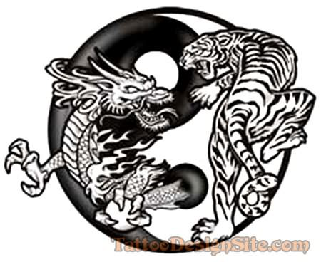 Chinese Dragon Tiger Tattoo Famous Design