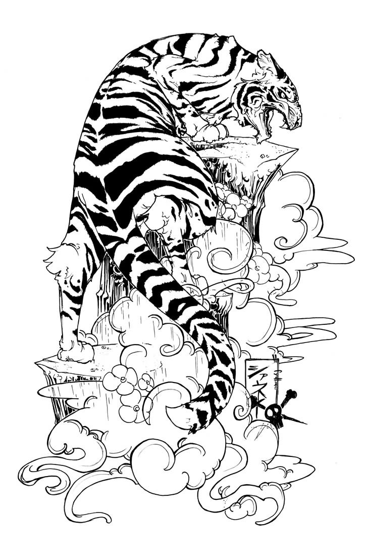 Flowers And Tiger Tattoo Design