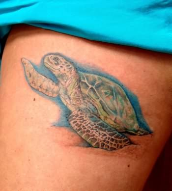 This Realistic Sea Turtle Tattoo