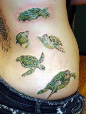 Turtle Tattoos On Side Ribs