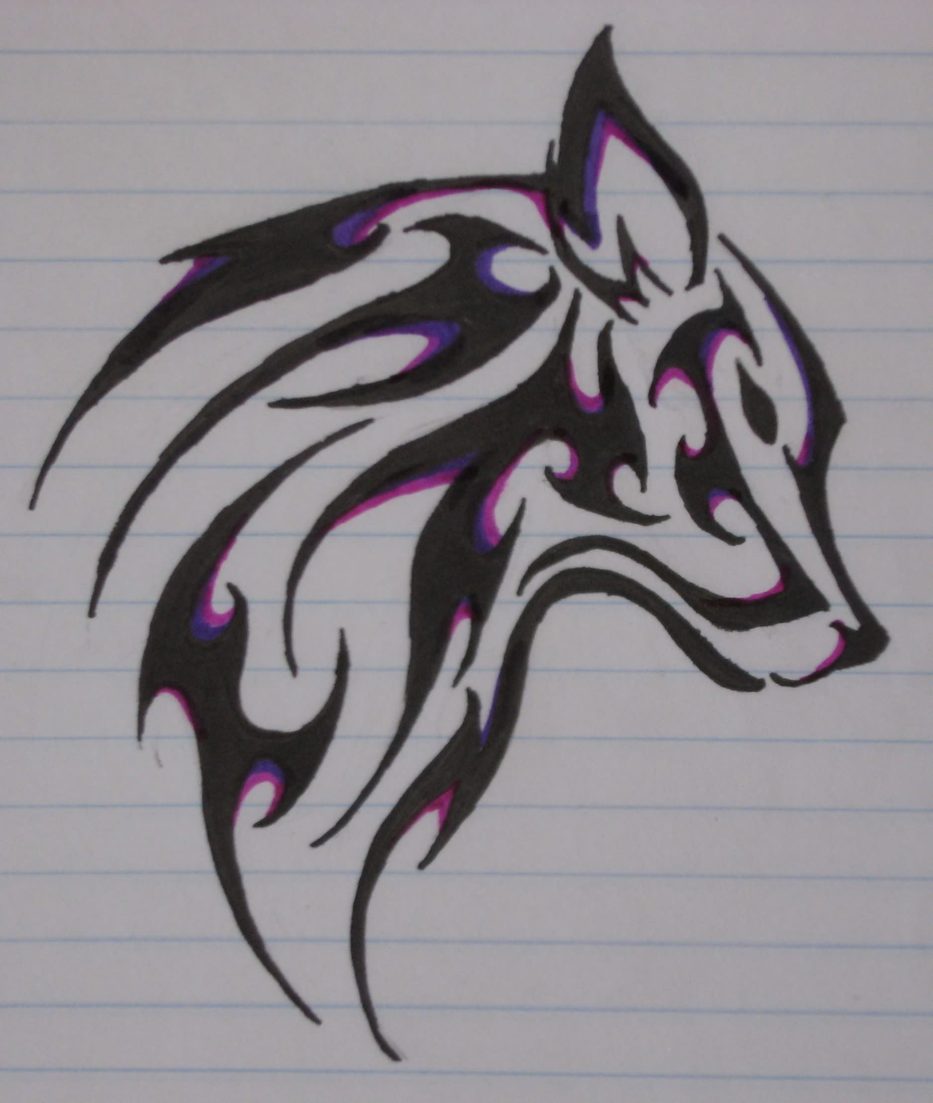 Black And Purple Colour Wolf Drawing For Tattoo