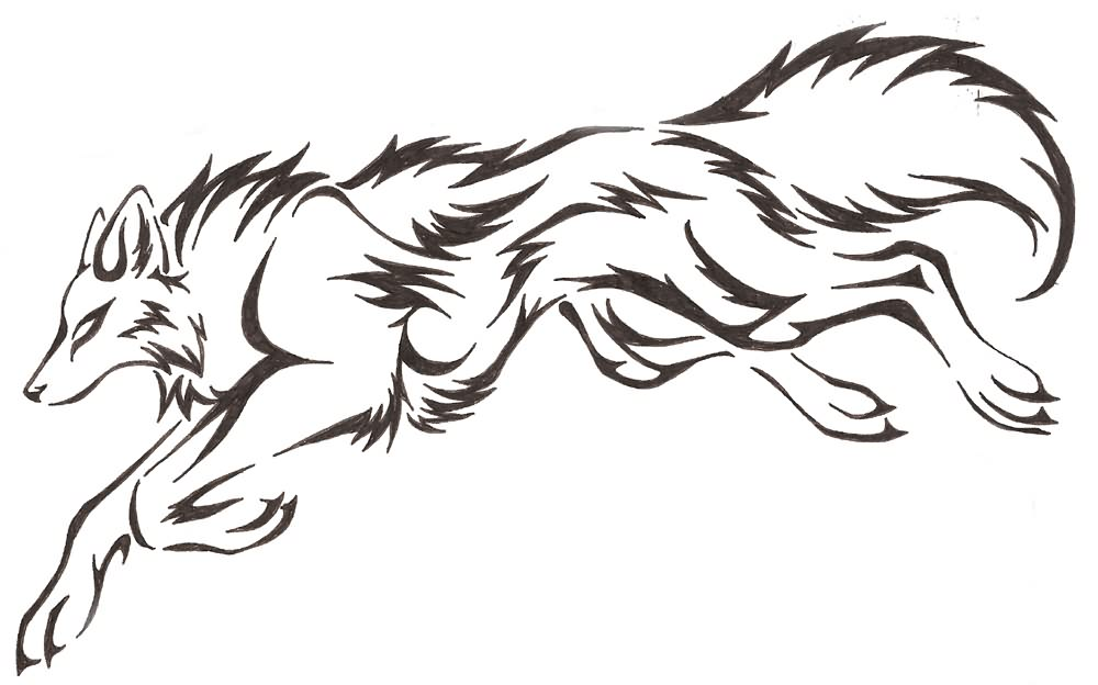 jumping wolf tattoo design picture. Black Bedroom Furniture Sets. Home Design Ideas