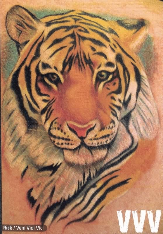 Yellow Tiger Face Tattoo