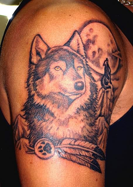 Moon And Wolf Tattoo O...