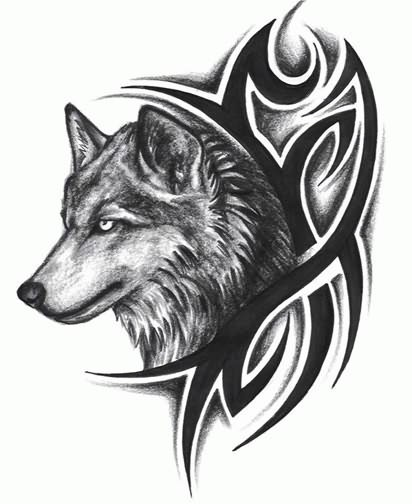 67434bf5b4868 Tribal Design And Wolf Head Tattoo
