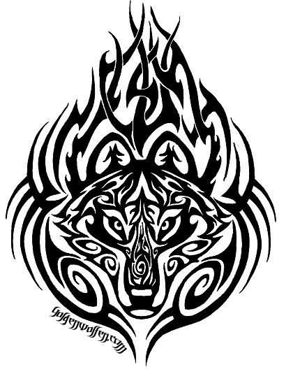 Tribal Wolf Designing Tattoo