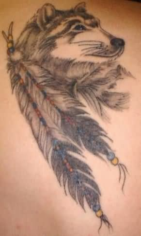 Wolf head and feather tattoo for Wolf tattoo with feathers