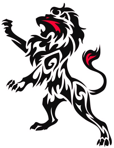 Black And Red Lion Tattoo Sample