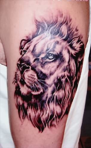 Coloured Lion Face Tattoo