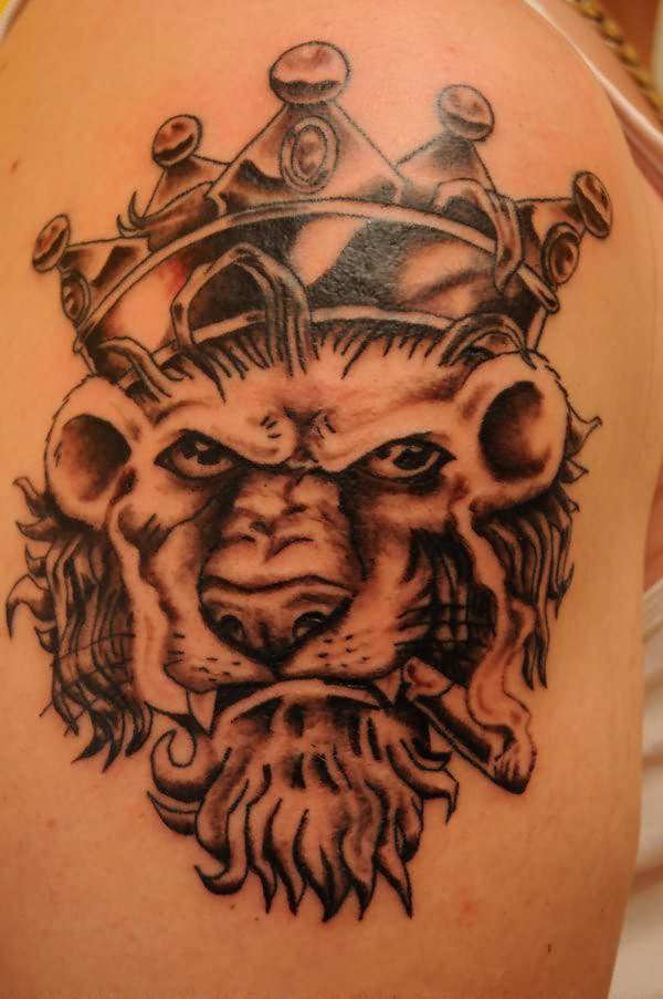 crown on lion head tattoo. Black Bedroom Furniture Sets. Home Design Ideas