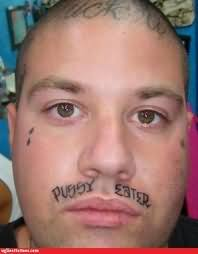 Crazy Funny Tattoo On Mustache