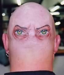 Funny Eyes Tattoo On Head