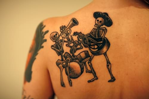 Band of Skeleton  Black & White Tattoo