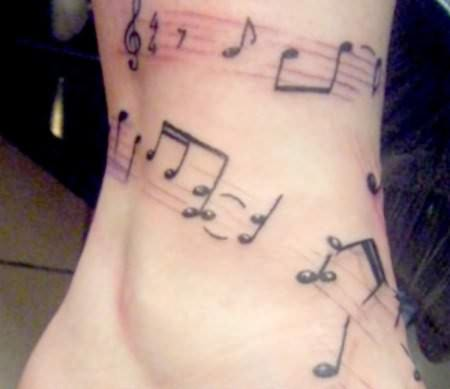 Band Tattoo -  Musical Rhythms On Ankle