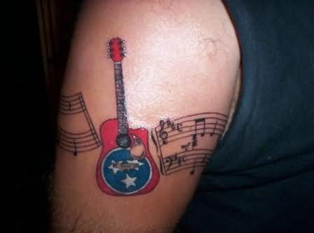 Guitar Arm Band Tattoo