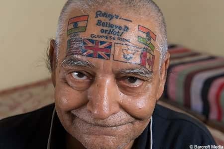Country Flags Tattoos On Forehead