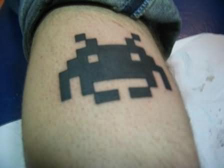 Geek Animation Tattoo On Leg