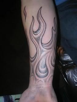 burning flame tattoo on arm. Black Bedroom Furniture Sets. Home Design Ideas
