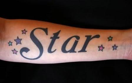 star word tattoo on arm