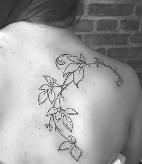 Flower Vine Black And White Tattoo On Back