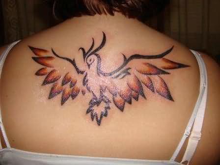 phoenix bird tattoo on back. Black Bedroom Furniture Sets. Home Design Ideas