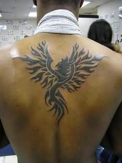 Phoenix tattoo on back for men
