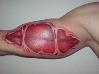 Biceps Red Tattoo