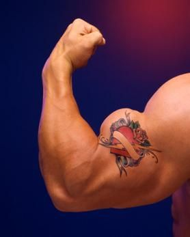 Red Heart Tattoo On Biceps