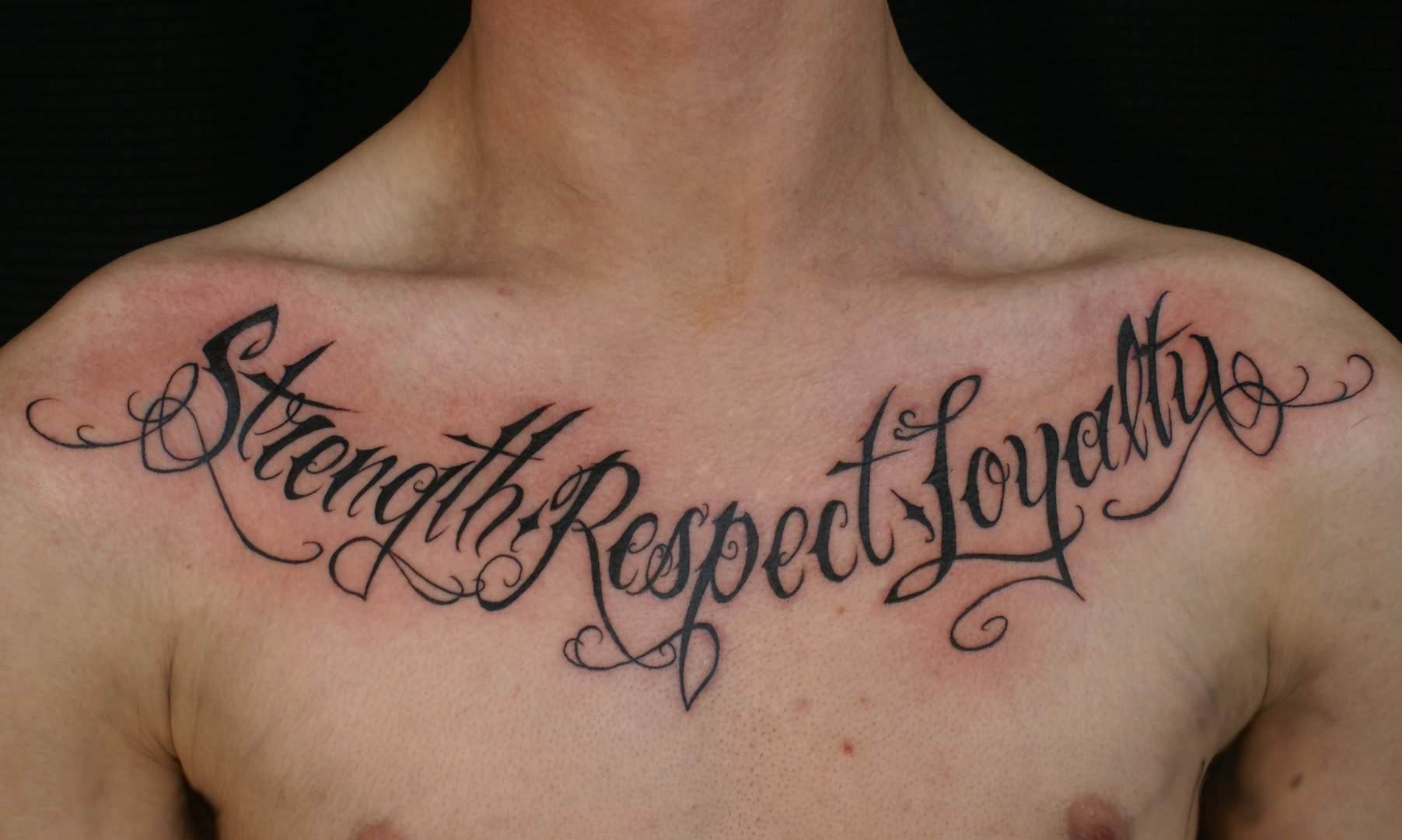 Words tattoos on chest for Tattoos with words