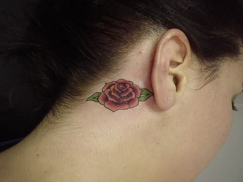 Red Rose Earrings Red Rose Tattoo on Behind Ear