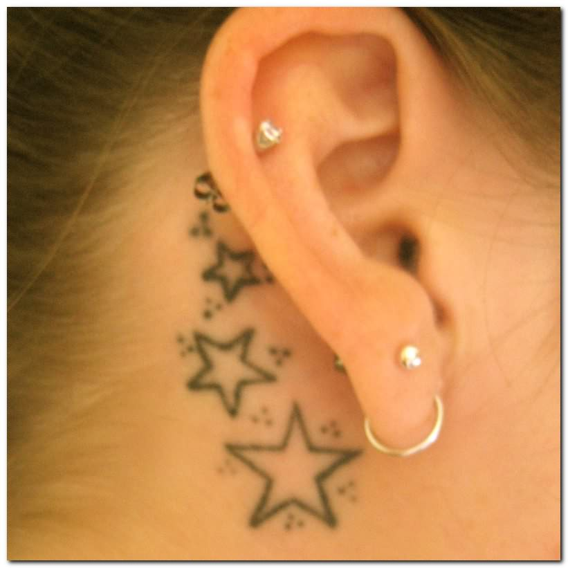 Stars Tattoos Behind Ear For Girls