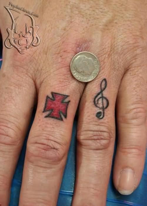 Beach tattoo ideas 30 fair good arm tattoos for men for Cross tattoos on finger