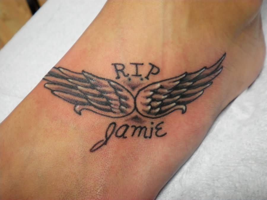angel wings foot tattoo rh tattoostime com Rip Tattoo Designs for Men Angel Wing Tattoos for Men