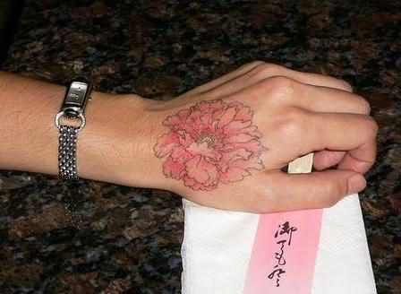 Fair anemone flower tattoo on hand for Flower tattoos on hand