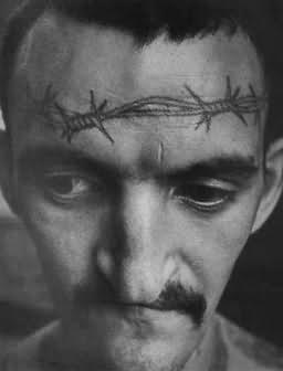 Barbed Wire Tattoo On Head