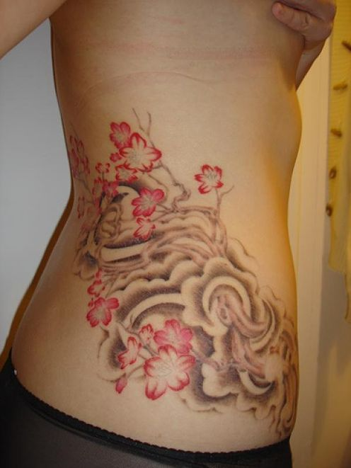 Beautiful Flowers Tattoos On Hip